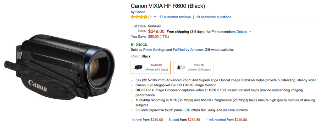 canon VIXIA HF R600 camera review image