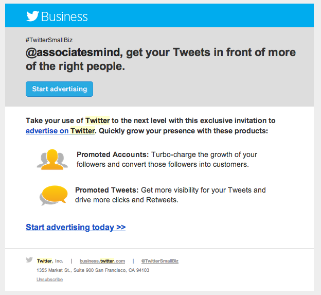 Twitter email ad