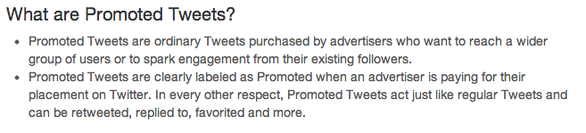 Twitter promoted tweets