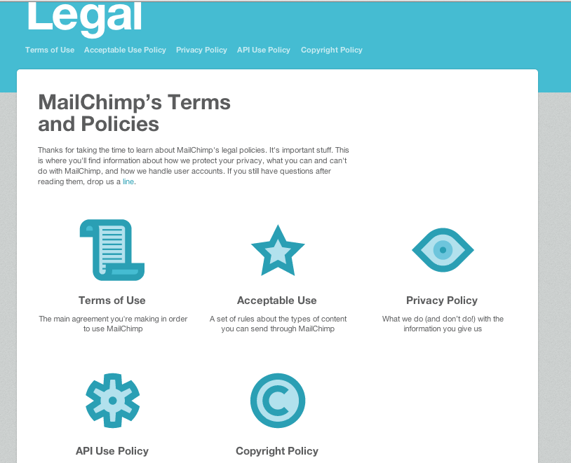 mailchimp new terms of use