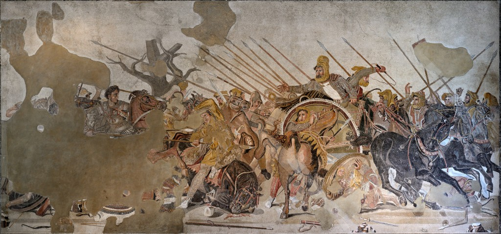Alexander (left) faces Darius at Issus. (D's about to run.)