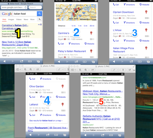 google mobile search results