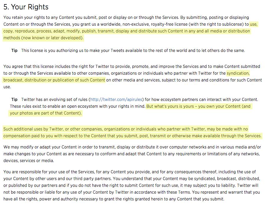 Twitter Terms of Service highlighted