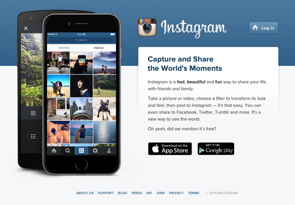 instagram splash page 2015