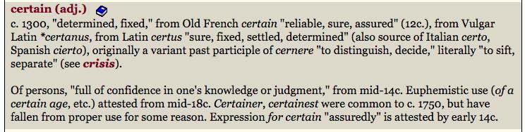 certain etymology