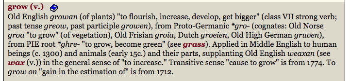 grow etymology