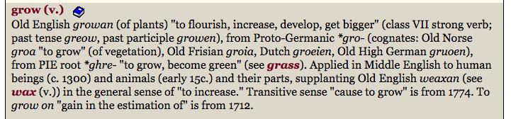 grow etymology