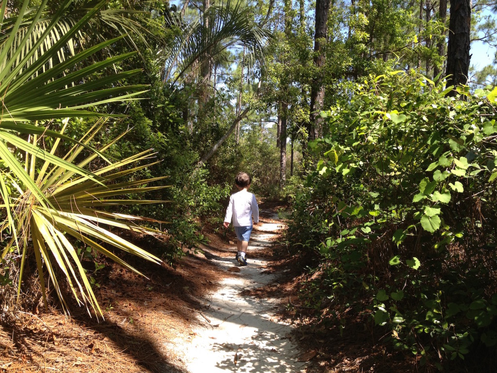young boy on trail