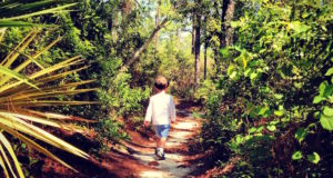 child on a path