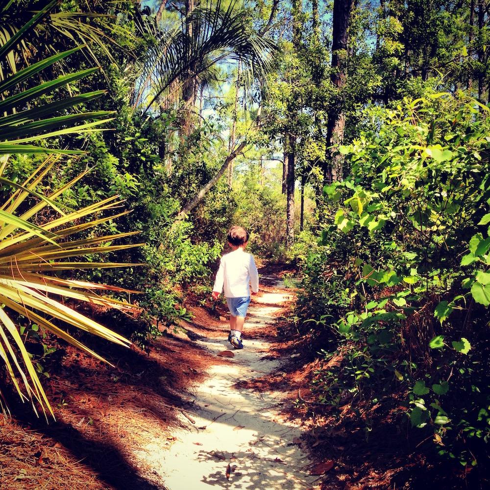 child on a path